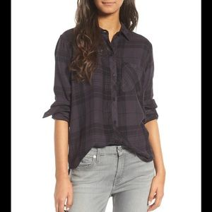 Rails Hunter Buttondown Shirt in Onyx/Jet plaid XS